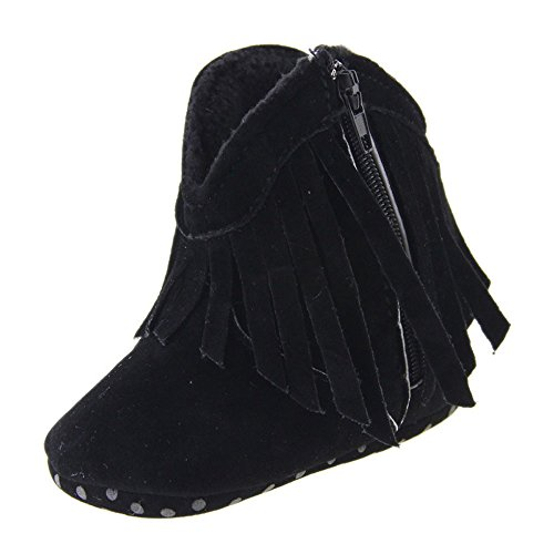 Kuner Baby Girl's Tassel Soft Bottom Non-slip Warm Boots Toddler Shoes (13cm (12-18 Months), Black)