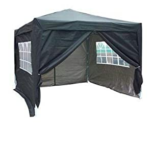 Quictent® Ⅱ10x10 EZ Pop Up Party Tent Canopy Gazebo Black 4 Walls W/ Free Carry Bag 100% Waterproof