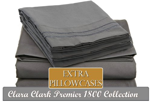 Clara Clark A Premier 1800 Collection 6-Piece Bed Sheet Set With Extra Pillowcases, Queen, Charcoal Stone Gray