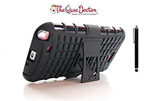 TCD for Samsung Galaxy NOTE 2 Hybrid [BLACK] Grenade Armor Case LIFETIME WARRANTY Dual Layer [Hard TPU & Soft Silicone Mix] Shock Proof Good Grip Protective Case Multi Purpose Protection Kickstand