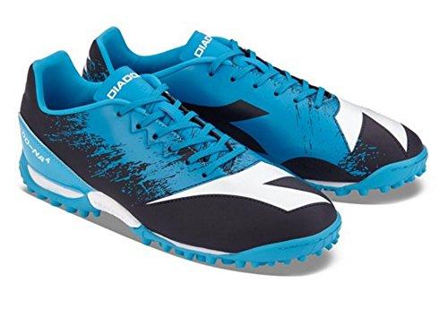 Diadora Men's DD-NA4 R TF Soccer Shoe (9 US, DK Smoke / Blue Fluo)