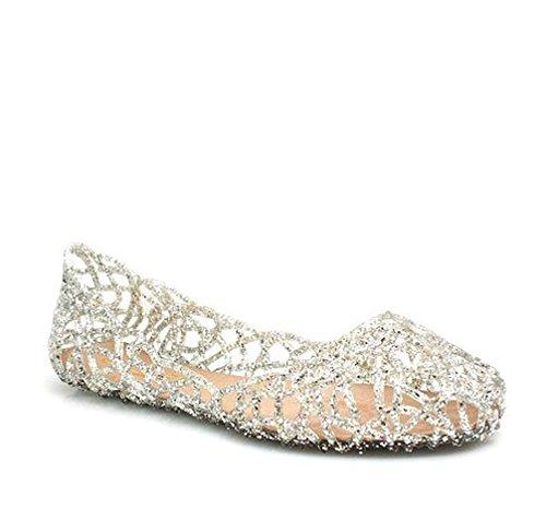 Glaze Women Fashion Designer Layered Lines Jelly Ballet Flats (10 B (M) US, Silver1 )