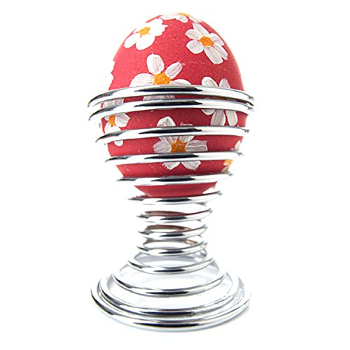 Egg Cup Egg Holder 4PCS Stainless Steel Spring Egg Holder Stainless Steel Boiled Eggs Cup Eggs Holder Stand Storage
