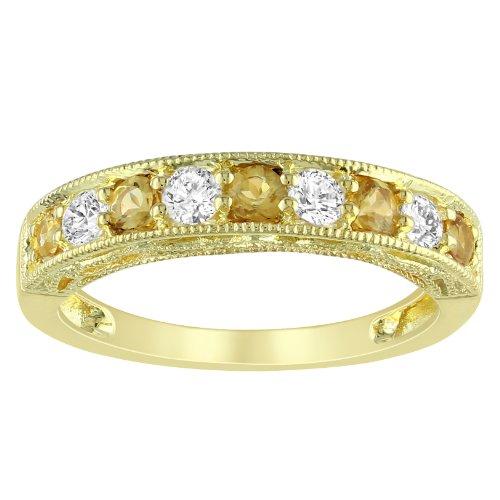 Yellow Silver 5/8 CT TGW Multi-colored Multi-Gemstone Fashion Ring