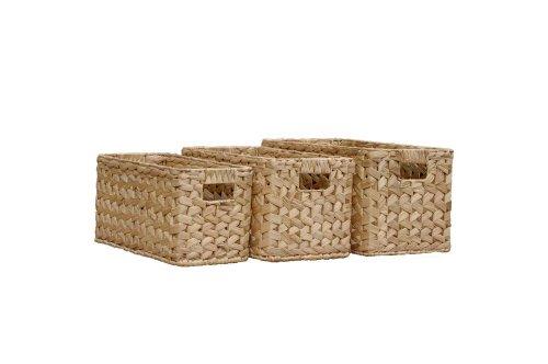 Set of 3 Twyford Natural Coloured Rattan Storage Baskets