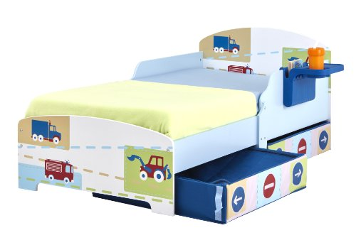 Boys Trucks n Tractors Toddler Bed with Storage and Shelf
