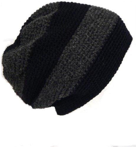 POM London Handmade Crochet Baggy Beanie Hat (Black, Charcoal)