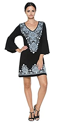 Women's Black Exotic Moroccan Design Jersey Knit Bell Sleeve Tunic Mini Dress