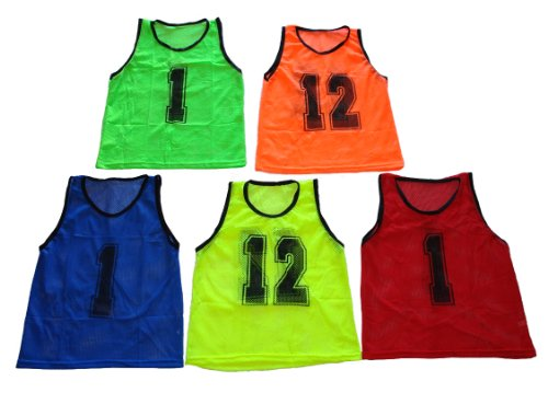 Workoutz Numbered Youth Red Scrimmage Vest Set (12 Qty) Soccer Pinnies