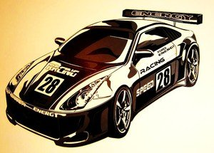 e-baby-store Huge Black And White Rally Racing Car Wall, Furniture Stickers For Nursery, Childrens, Baby, Childs, Kids, Boys, Girls Bedroom, Playroom. Decals, Stickarounds, Murals, Wallpaper, Adhesives.