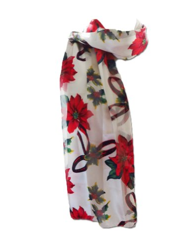 New Company Womens Holiday Poinsettia Flowers Scarf Ð White Ð One Size
