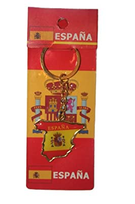 Spain Espana Country Shape Flag Metal Keychain .. New
