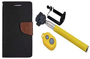 Novo Style Book Style Folio Wallet Case Xiaomi Redmi 4G Black + Selfie Stick with Adjustable Phone Holder and Bluetooth Wireless Remote Shutter