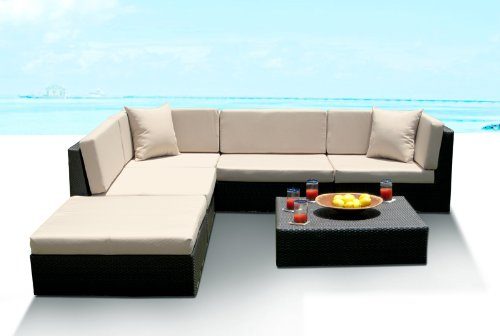 Outdoor Wicker Furniture New All Weather 6pc Patio Deep Seating Sectional Sofa Set Cheap
