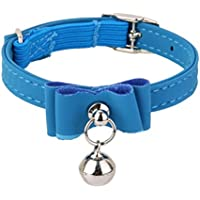 Generic Adjustable Pet Kitten Cat Puppy Safety Collar Bell Buckle Neck Strap Blue