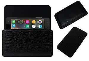 Acm Horizontal Leather Case For Lemon Ocean 102 Mobile Cover Carry Pouch Holder Black