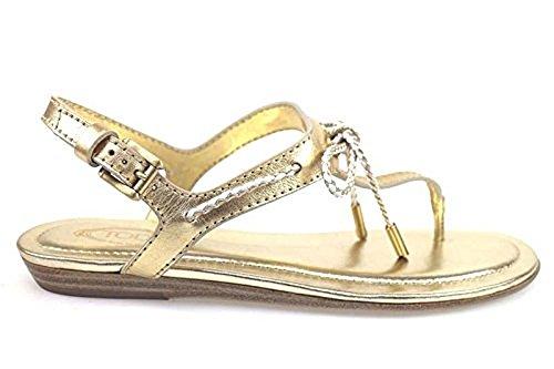 scarpe donna TOD'S 36 sandali platino pelle ap582