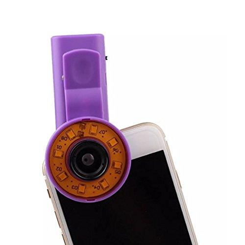 Cyxus Portable Mini selfie Light [Luminosité réglable] [3 Filtre] Round Spotlight Ring (Clip The Phone) Flash 9 LEDS [grand-angle] (Violet)
