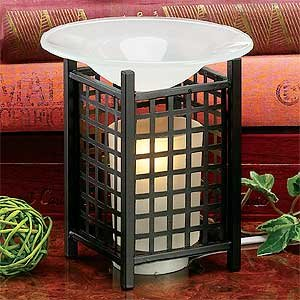 """Electric Essential Oils Fragrance Oils Diffuser Burner W/ Free One Bottle(1/2 Fl.Oz) Random Fragrance Oil- Mesh, Square Design And Gorgeous Frost Glass Top,35 Watt Halogen Bulb With Touch Dimmer Switch , 5"""" H, The Most High-End Quality In The Market,Super"""