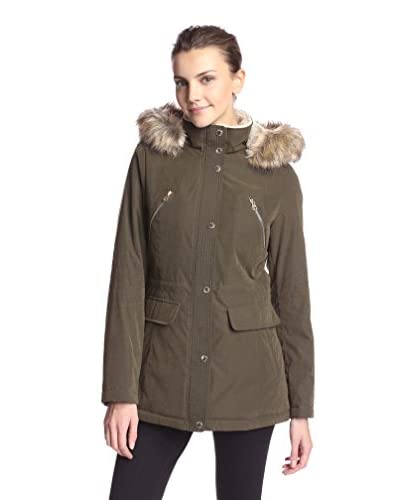 Nautica Women's Hooded Anorak with Faux Fur Trim