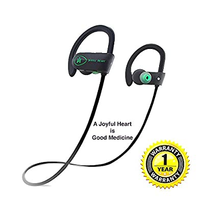 Bluetooth Earphone, Joyful Heart (JH-800) Sports Wireless, IPX7 Waterproof, Premium Sound with Bass, Noise Cancelling, Ergonomic Design, Secure Fit, Case, 7-Hr Playtime with Mic & Youtube