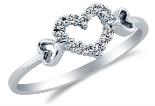 Size 6 - Solid 14K White Gold Heart Shape Highest Quality CZ Cubic Zirconia Love Promise Fashion Ring Band - Available in all ring sizes 4 - 13