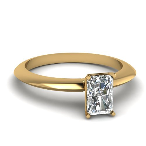 Fascinating Diamonds 0.75 Ct Radiant Cut Solitaire Diamond Elegant Knife Edge Engagement Ring Si2 14K Gia