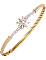 The Jewelbox Baguette Flower American Diamond Gold Plated Openable Kada Bangle Bracelet For Women