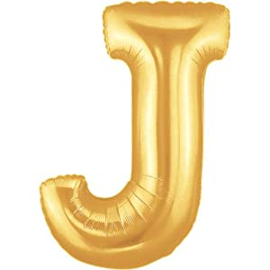 Amazoncom large letter j gold megaloons 40quot mylar for Foil letter balloons amazon