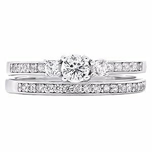 Regina: 0.63ct Brilliant-cut Ice on Fire CZ 2 Pc Petite Wedding Ring