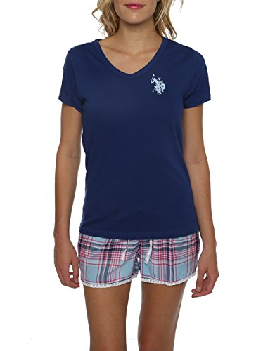 U.S. Polo Assn. Women's 2 Piece Short Sleeve V-Neck Shirt and Plaid Pajama Shorts Set