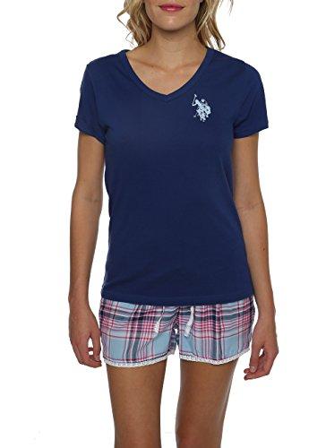 U.S. Polo Assn.Women's 2 Piece V-Neck Short Sleeve Shirt and Short PJ Pant Set