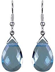 Pearl Paradise Generic Swarovski Aquamarine Blue Pear Drop Earring.