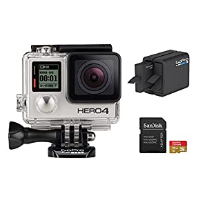 GoPro HERO 4 Silver Edition 12MP Waterproof Sports & Action Camera Bundle with 2 Batteries, Dual Battery Charger, 16GB Micro SD Card, Standard & Skeleton Housing and 3-way Pivot Arm