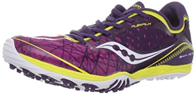 Saucony Women's Shay XC3 Flat Running Shoe,Purple/Yellow,5 M US