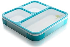 Bento Box by Lifemark Labs - Stylish Leakproof Microwavable Lunch Box with Compartments - For Kids & Adults - 100% Food Safe Design - Easy Portion Control - This Clever Container is Dishwasher Friendly - Healthy Eating Starts Now!
