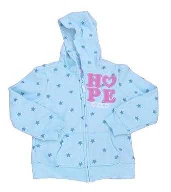 Toughskins Girls Peace Stars Hope Fleece Hooded Jacket Size 5-6 Light Blue