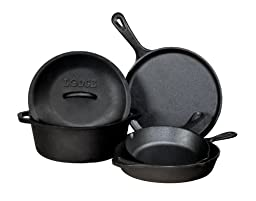 Buy Cast Iron Cookware Sets, Lodge 5-piece Cast Iron Cookware Set, Preseasoned for a Smooth Finish that Resists Sticking and Rust, Black Cast Iron Cookware, Durable, Even Heat Distribution, Durable Cookware that is Oven-Safe to 450 Degrees Fahrenheit