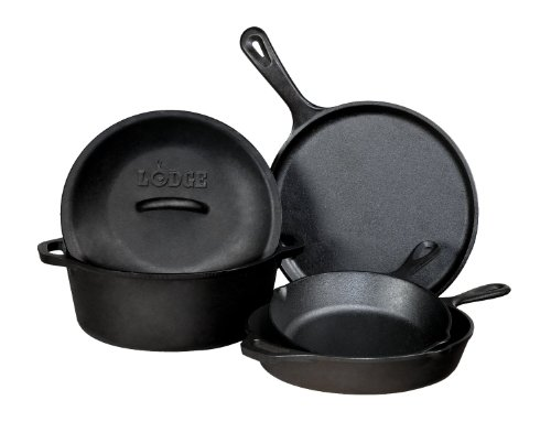 Lodge Cast Iron 5-Piece Set, Includes 8, 10.25 Cast Iron Skillet, 10.5 Griddle , 5-Quart Dutch Oven 10.25-Inch And A Lid That Will Fit The Skillet And Dutch Oven. Great Deal On Lodge Cast Iron Cookware