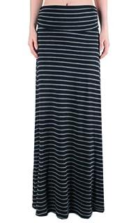 LQ Women's High Waisted Fold Over Maxi Skirt (Thin Black + Thin Charcoal Stripes, Small)