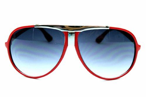 A183 Turbo Aviator Pilot with Metal Bridge Vintage Retro Sunglasses (red)