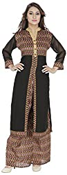 Ada Vastram Women's Silk Slim Fit Kurta and Bottom Set (Large, Black)