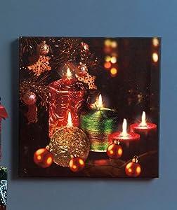 Christmas candles ornaments holiday twinkling for Christmas wall art amazon