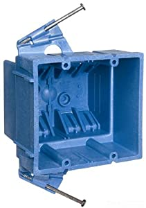 Carlon BH235A Switch/Outlet Box, New Work, 2 Gang, 3-7/8-Inch Length by 4-1/8-Inch Width by 3-1/2-Inch Depth, Blue
