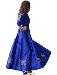 Sai Creation Women's Bhagalpuri Silk Blue Semi - Stitched Floor Length Gown