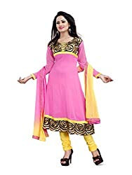Parinaaz fashion georgette Pink unstitched salwar suit dress material...