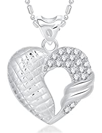 VK Jewels Vintage Heart Valentine Rhodium Plated Alloy Pendant With Chain For Women & Girls Made With Cubic Zirconia...