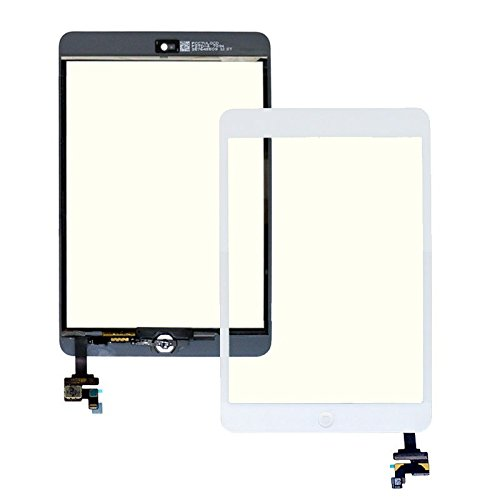 Flylinktech For Ipad Mini Touch Glass Digitizer Screen Ic Connector + Home Button Flex Assembly (White)