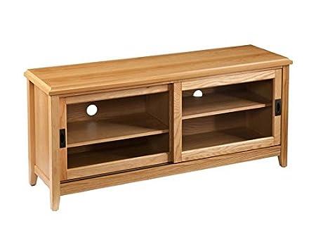 Elisa Natural Oak Media Center 50 Inch TV Stand Storage Cabinet with Sliding Doors