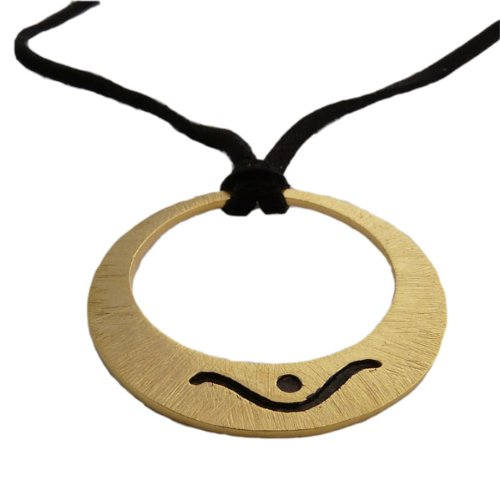 Shiva Moon Hoop Necklace in Brushed Matte Sterling Silver or 18k Gold Vermeil